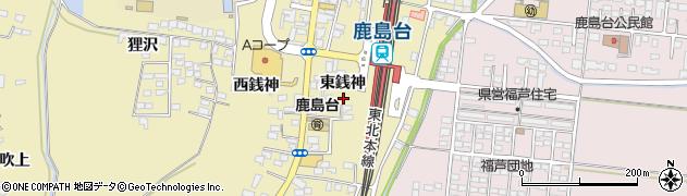 宮城県大崎市鹿島台平渡(東銭神)周辺の地図