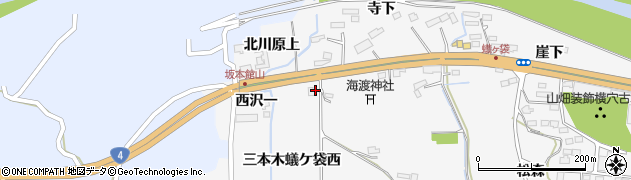 宮城県大崎市三本木蟻ケ袋(中ノ沢)周辺の地図