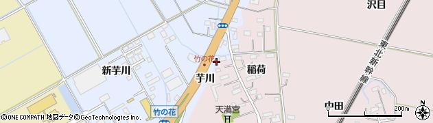 宮城県大崎市古川荒谷(芋川)周辺の地図