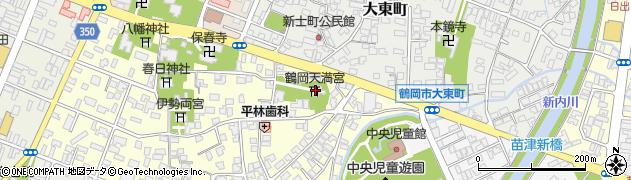 鶴岡天満宮周辺の地図