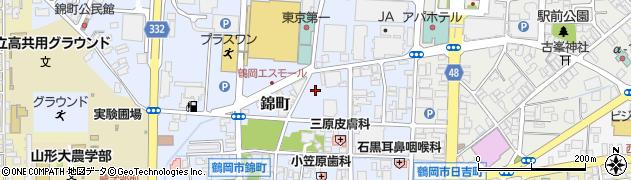 山形県鶴岡市錦町周辺の地図