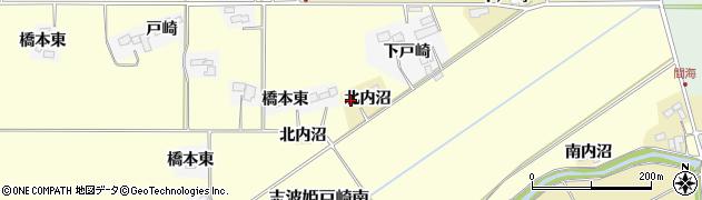 宮城県栗原市志波姫南郷北内沼周辺の地図