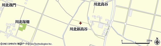 宮城県栗原市若柳川北新高谷周辺の地図