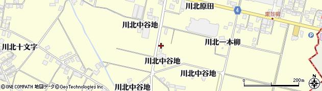 宮城県栗原市若柳川北新中谷地周辺の地図