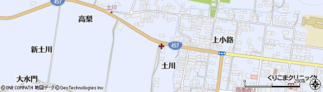 宮城県栗原市栗駒岩ケ崎新土川周辺の地図