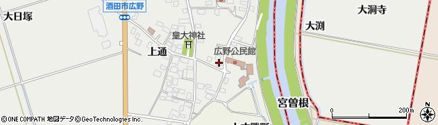 山形県酒田市広野上通19-3周辺の地図