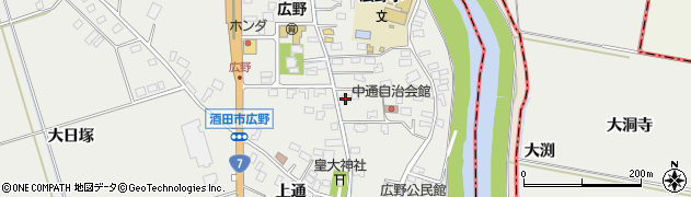 山形県酒田市広野中通10周辺の地図