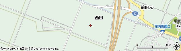 山形県東田川郡庄内町余目西田周辺の地図