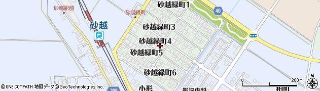 山形県酒田市砂越緑町4丁目周辺の地図
