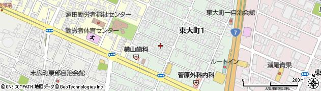 山形県酒田市東大町周辺の地図