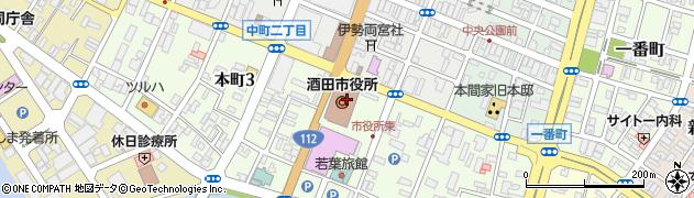山形県酒田市周辺の地図