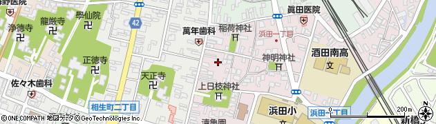 山形県酒田市浜田周辺の地図