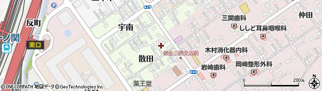 岩手県一関市散田周辺の地図