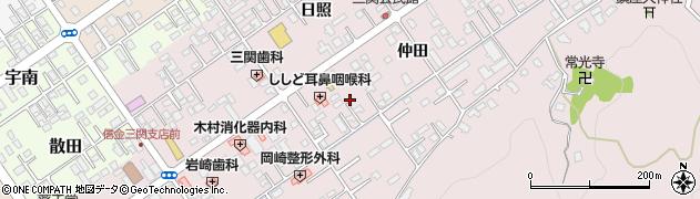 岩手県一関市三関仲田周辺の地図