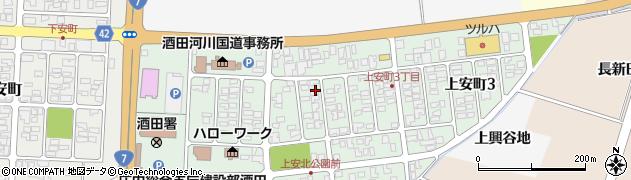 山形県酒田市上安町2丁目周辺の地図