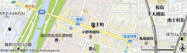 岩手県一関市地主町周辺の地図