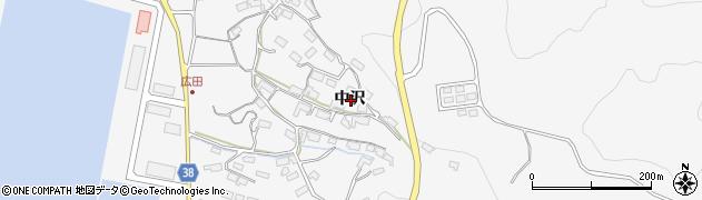 岩手県陸前高田市広田町中沢周辺の地図