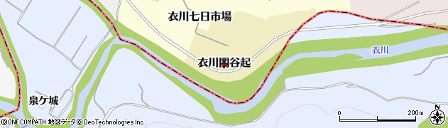 岩手県奥州市衣川関谷起周辺の地図