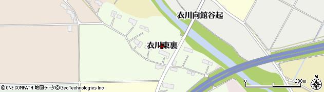岩手県奥州市衣川東裏周辺の地図