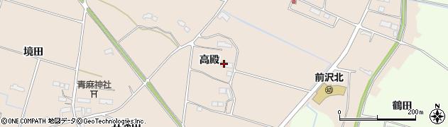 岩手県奥州市前沢古城(高殿)周辺の地図