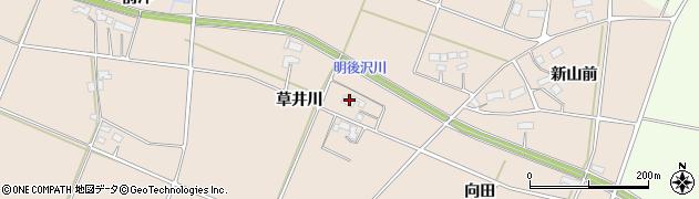 岩手県奥州市前沢古城(草井川)周辺の地図