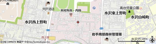 岩手県奥州市水沢中上野町周辺の地図