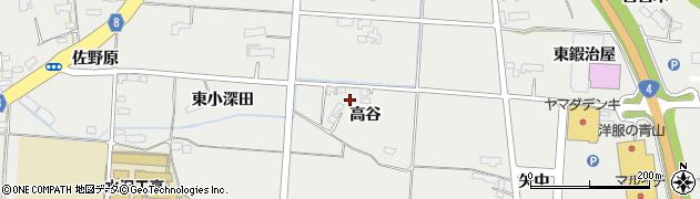 岩手県奥州市水沢佐倉河(高谷)周辺の地図