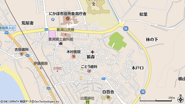 〒018-0104 秋田県にかほ市象潟町狐森の地図