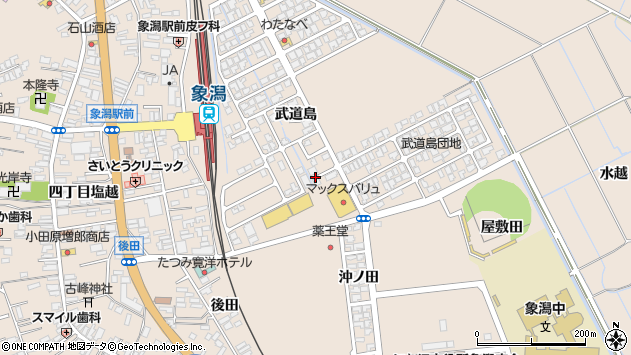 〒018-0111 秋田県にかほ市象潟町武道島の地図