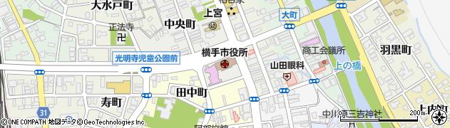 秋田県横手市周辺の地図