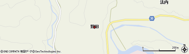 秋田県由利本荘市東由利法内(野田)周辺の地図