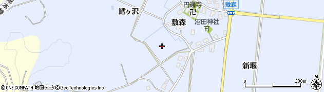 秋田県由利本荘市西目町沼田(敷森)周辺の地図