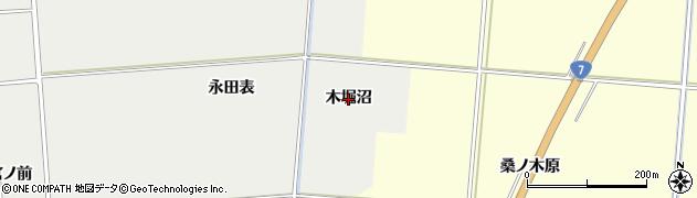 秋田県由利本荘市船岡(木堀沼)周辺の地図