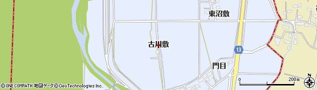 秋田県大仙市角間川町(古川敷)周辺の地図