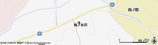 秋田県由利本荘市金山(梅ノ木沢)周辺の地図