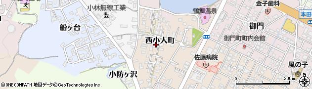 秋田県由利本荘市西小人町周辺の地図