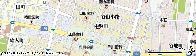 秋田県由利本荘市中竪町周辺の地図