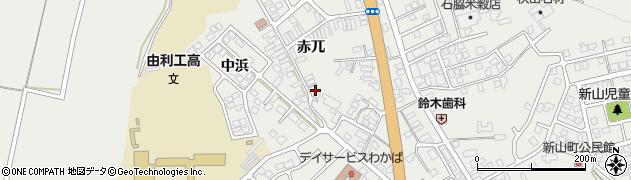 秋田県由利本荘市石脇(赤兀)周辺の地図