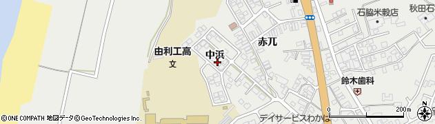 秋田県由利本荘市石脇(中浜)周辺の地図