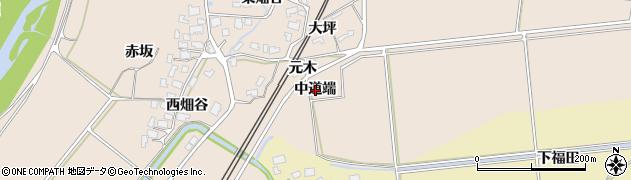 秋田県由利本荘市畑谷(中道端)周辺の地図