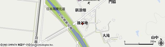 秋田県由利本荘市内越(後谷地)周辺の地図