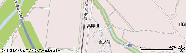 秋田県由利本荘市中館(高野田)周辺の地図