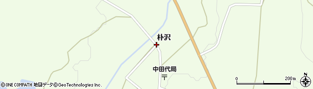 秋田県由利本荘市中田代(朴沢)周辺の地図