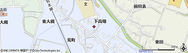 秋田県大仙市大曲(下高畑)周辺の地図