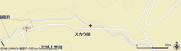 秋田県由利本荘市岩城上黒川(スカウ田)周辺の地図