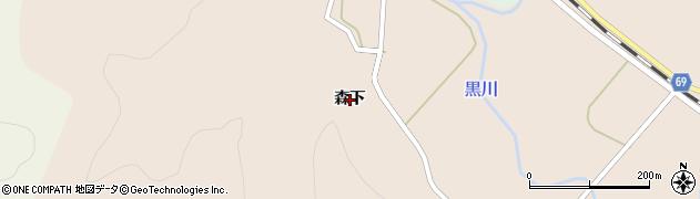 秋田県由利本荘市岩城下黒川(森下)周辺の地図