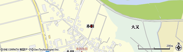 秋田県秋田市雄和田草川(本田)周辺の地図