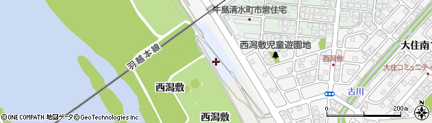 秋田県秋田市牛島(西潟敷)周辺の地図