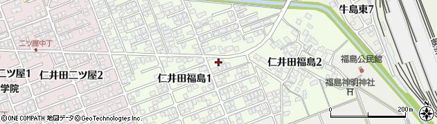 秋田県秋田市仁井田福島周辺の地図