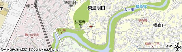 秋田県秋田市東通明田周辺の地図